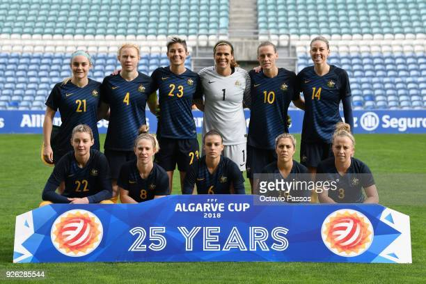 The Australia team lineup during the Women's Algarve Cup Tournament match between Portugal and Australia at Algarve stadium on March 2 2018 in Faro...