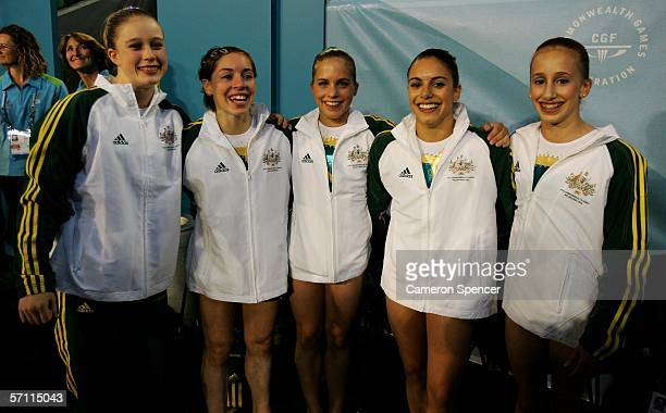 The Australia team pose after winning Gold in the Womens Artistic Gymnastics at the Rod Laver Arena during day two of the Melbourne 2006 Commonwealth...