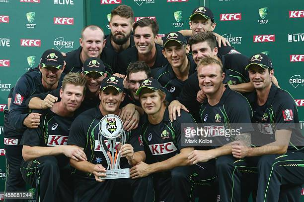 The Australia team pose with the trophy after victory during game three of the Men's International Twenty20 series between Australia and South Africa...