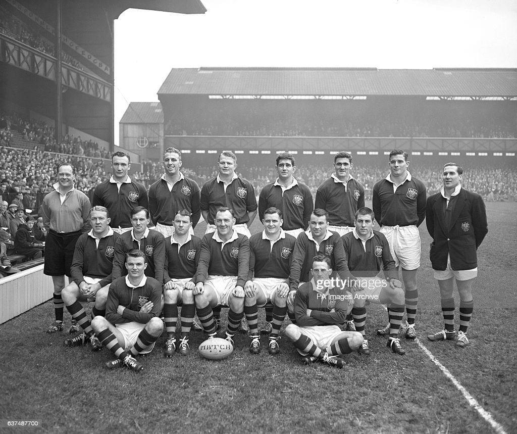 The Australia team. (top l-r) R C Williams (referee), Kevin Ryan, David Emanuel, Tony Miller, Geoffrey Vaughan, Terry Curley, Jim Lenehan and Ron Harvey (touch judge). (middle row l-r) Norman Hughes, Saxon White, Des Connor, Bob Davidson (captain), Peter Fenwicke, Jim Brown and Rod Phelps. (front l-r) Ken Donald and Arthur Summons.