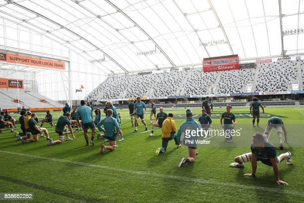 The Australia Wallabies warm up for their Captain's Run at Forsyth Barr Stadium on August 25, 2017 in Dunedin, New Zealand.