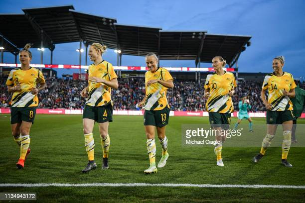 The Australia Women's National Team warms up before taking on the United States at Dick's Sporting Goods Park on April 4 2019 in Commerce City...