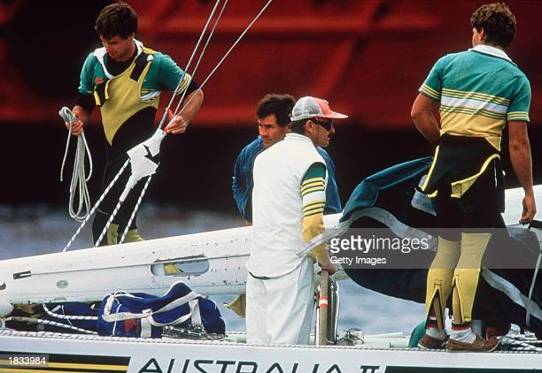 The Australian 11 Team Skipper John Bertrand of Australia on the boat heading for the start line before the America's Cup race 1983 held in...