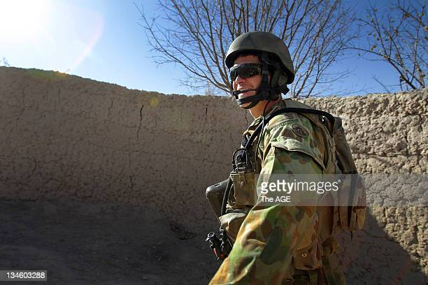 The Australian and Afghan National Army go on a foot patrol from their base in Musazai found in Uruzgan Province in Afghanistan. Pictured is the...