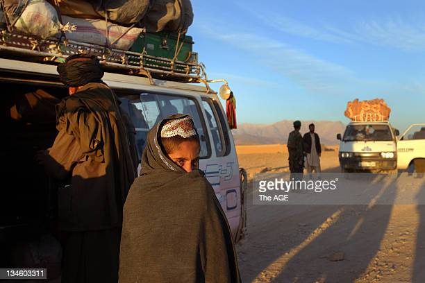 The Australian and Afghan National Army search vehicles at a check point near the patrol base in Musazai in the Uruzgan Province Afghanistan
