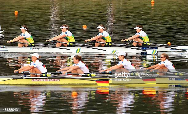 The Australian and Gemran crews compete in the Womens Quadruple Sculls race during the Rowing World Cup at the Sydney International Rowing Centre on...