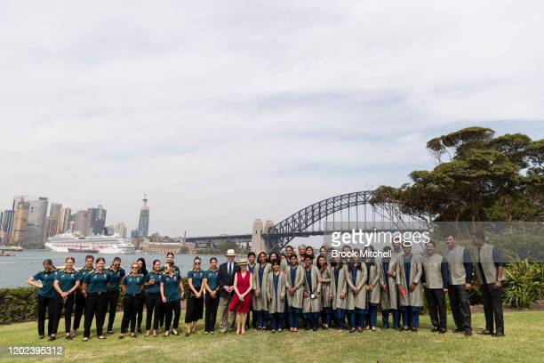 The Australian and Indian Women's cricket teams are pictured at Kirribilli House with the Governor-General David Hurley and Linda Hur;ey during the...