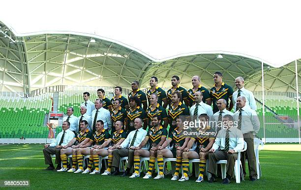 The Australian ARL Kangaroos team poses for a team photograph at AAMI Park on May 3 2010 in Melbourne Australia