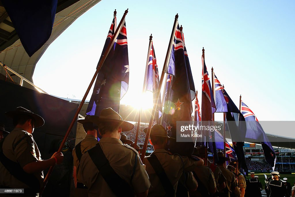 The Australian Army Cadet Unit wait to carry the Australian and New Zealand flags for the pre-match ceremony ahead of the ANZAC Cup round 8 NRL match between the St George Illawarra Dragons and the Sydney Roosters at Allianz Stadium on April 25, 2014 in Sydney, Australia.