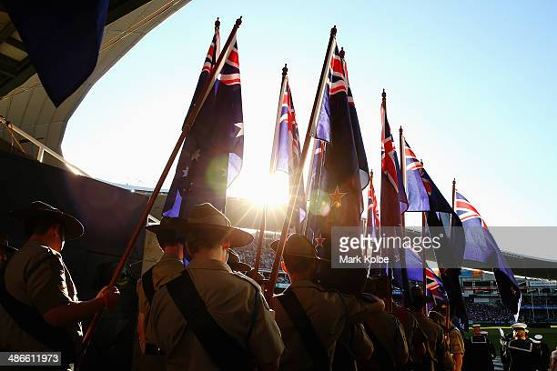 The Australian Army Cadet Unit wait to carry the Australian and New Zealand flags for the prematch ceremony ahead of the ANZAC Cup round 8 NRL match...