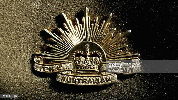 The Australian Army emblem is displayed on a hat during the Anzac Day parade April 25 2005 in Sydney Australia Australians and New Zealanders today...