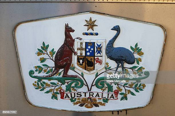 The Australian coat of arms is displayed on the side of The Ghan on August 2 2009 in Adelaide Australia The commemorative trip from Adelaide to...