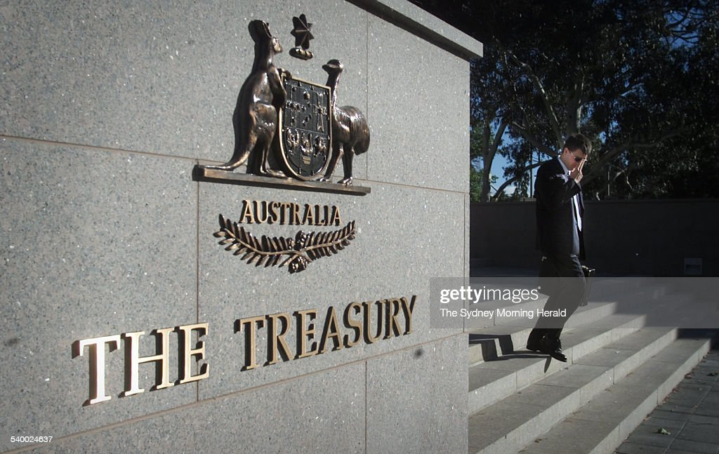 The Australian Coat Of Arms On A Wall Outside The The Department Of  Treasury, Canberra