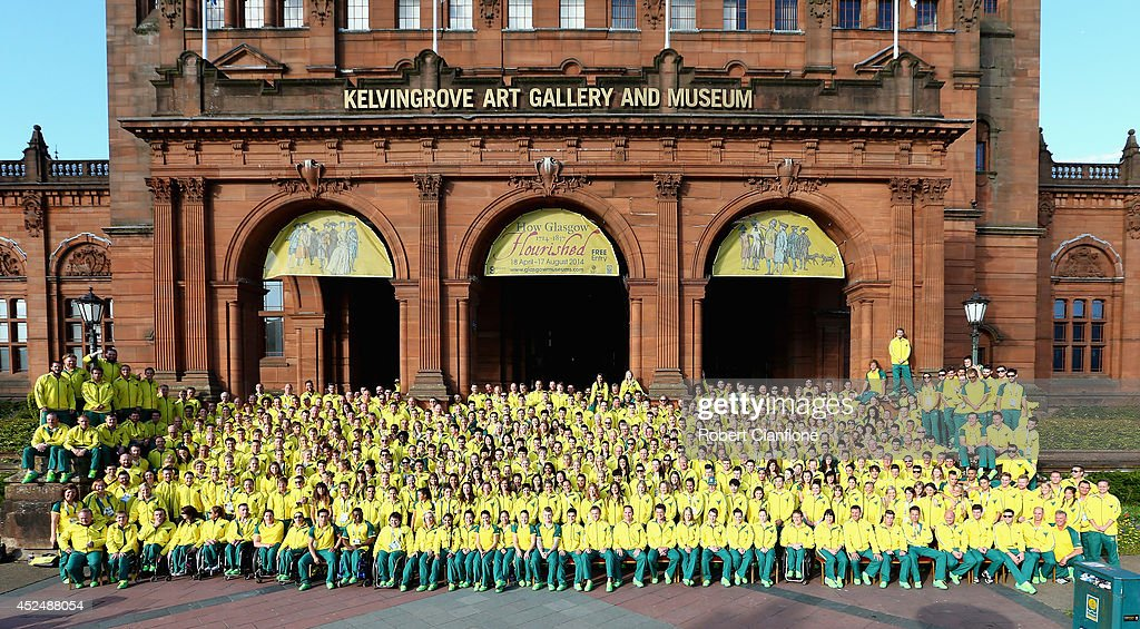 The Australian Commonwealth Games team pose for the media during the Australian Commonwealth Games official team reception at the Kelvin Grove Art Gallery and Museum on July 21, 2014 in Glasgow, Scotland.