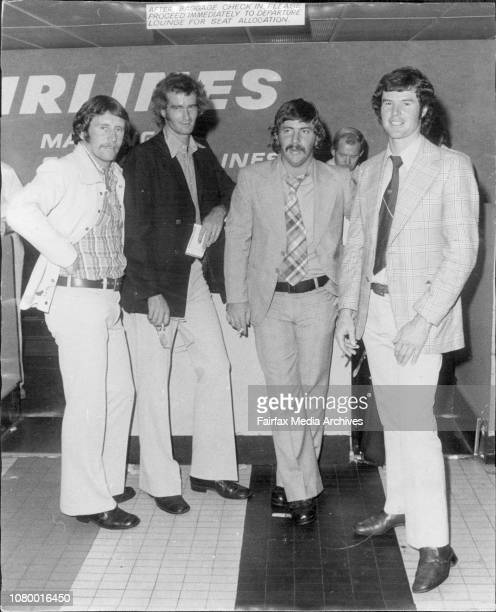 The Australian cricket team arrived by Qantas from New Zealand this evening at Mascot international airportL to R Ian Chappel Ashley Mallet Rod Marsh...