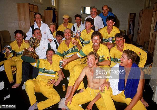 The Australian cricket team celebrate victory after winning the Benson Hedges World Series 2nd final match between Australia and Pakistan at the...