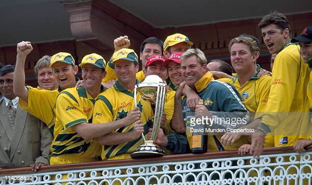 The Australian cricket team celebrate with the trophy after the World Cup Final against Pakistan at Lord's Cricket Ground in London 20th June 1999...