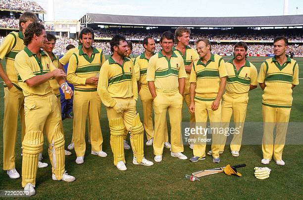 The Australian cricket team stand around during the trophy presentation after the Benson Hedges World Series Cup 2nd final match between Australia...