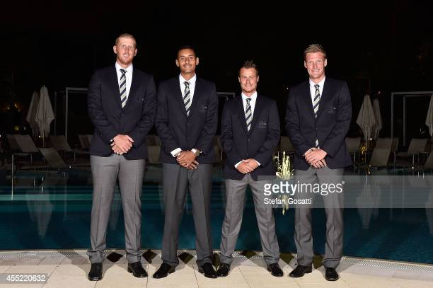 The Australian Davis Cup team Chris Guccione Nick Kyrgios Lleyton Hewitt and Sam Groth pose during the Official Dinner ahead of the Davis Cup World...
