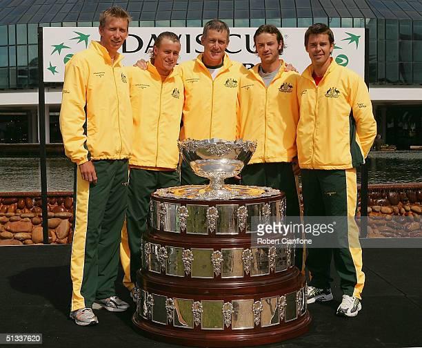 The Australian Davis Cup Team consisting of Wayne Arthurs, Lleyton Hewitt, captain John Fitzgerald, Todd Reid and Todd Woodbridge, pose with the...