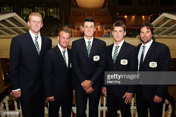 The Australian Davis Cup team poses during the official dinner ahead of the Davis Cup World Group Playoff Tie between Australia and Switzerland at...