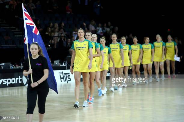 The Australian Diamonds arrive on court for the 2017 Constellation Cup match between the New Zealand Silver Ferns and the Australia Diamonds at Spark...