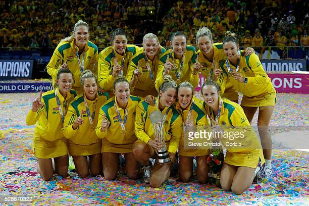 The Australian Diamonds celebrate after defeating New Zealand's Silver Ferns 58-55 after the 2015 Netball World Cup Gold Medal Match between...