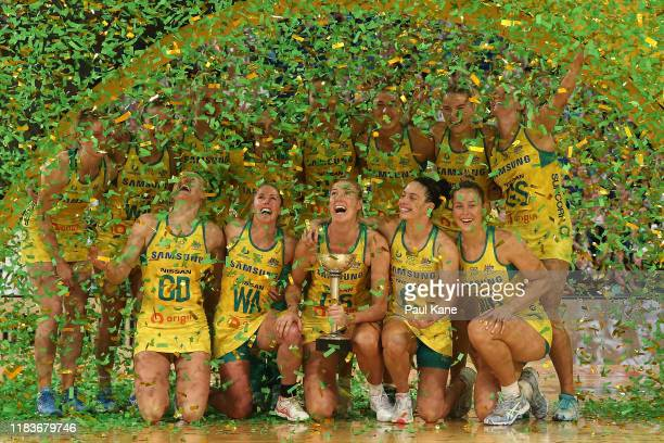 The Australian Diamonds celebrate with the Constellation Cup after winning the 2019 Constellation Cup match between the Australia Diamonds and the...