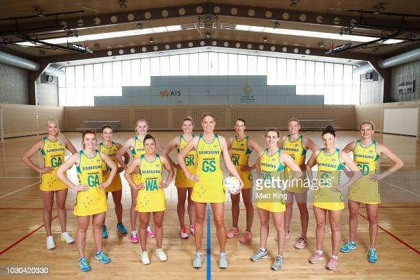 The Australian Diamonds netball team poses during the Australian Diamonds headshots session at the AIS on September 10 2018 in Canberra Australia