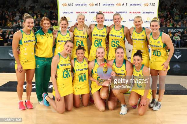 The Australian Diamond's pose with the trophy after winning the Quad Series International Test match between the Australian Diamonds and the New...