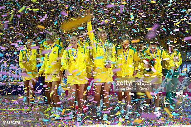 The Australian Diamonds walk to photographers after being crowned world champions defeating New Zealand's Silver Ferns 5855 in the 2015 Netball World...