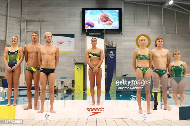The Australian Diving team pose during the Australian 2020 Tokyo Olympic Games Swimming Uniform Launch at Sydney Olympic Park Aquatic Centre on May...