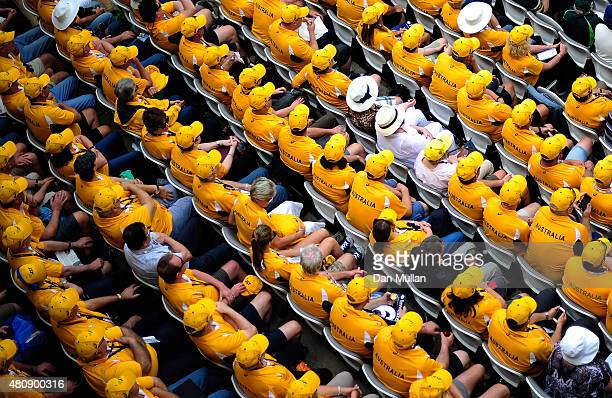 The Australian fans watch the action during day one of the 2nd Investec Ashes Test match between England and Australia at Lord's Cricket Ground on...