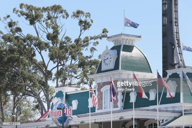 The Australian flag can be seen at halfmast at Dreamworld on October 25 2017 in Gold Coast Australia Four people were killed following an accident on...