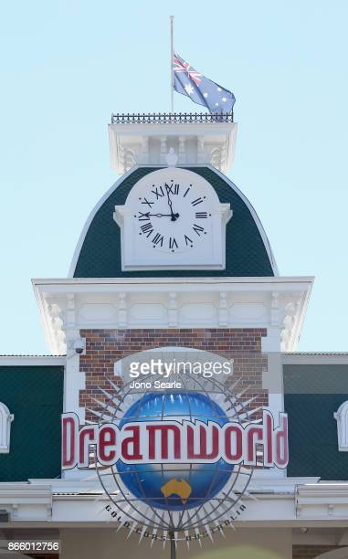 The Australian flag can be seen at halfmast at the entrance to Dreamworld on October 25 2017 in Gold Coast Australia Four people were killed...