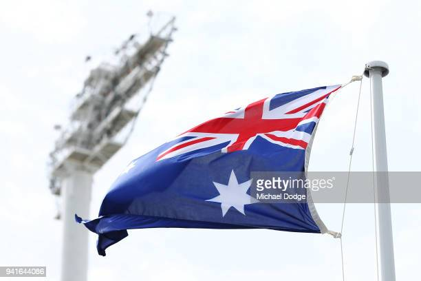 The Australian Flag is seen at Carrara Stadium ahead of the 2018 Commonwealth Games Opening Ceremony on April 4 2018 in Gold Coast Australia
