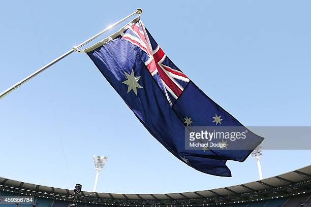 The Australian Flag is seen during game four of the One Day International series between Australia and South Africa at Melbourne Cricket Ground on...