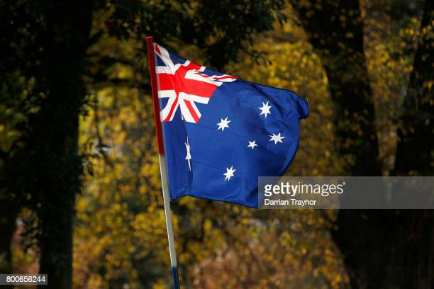 The Australian Flag is seen on June 25 2017 in Melbourne Australia An anti racist rally was organised to counter an 'Australian pride march' held by...