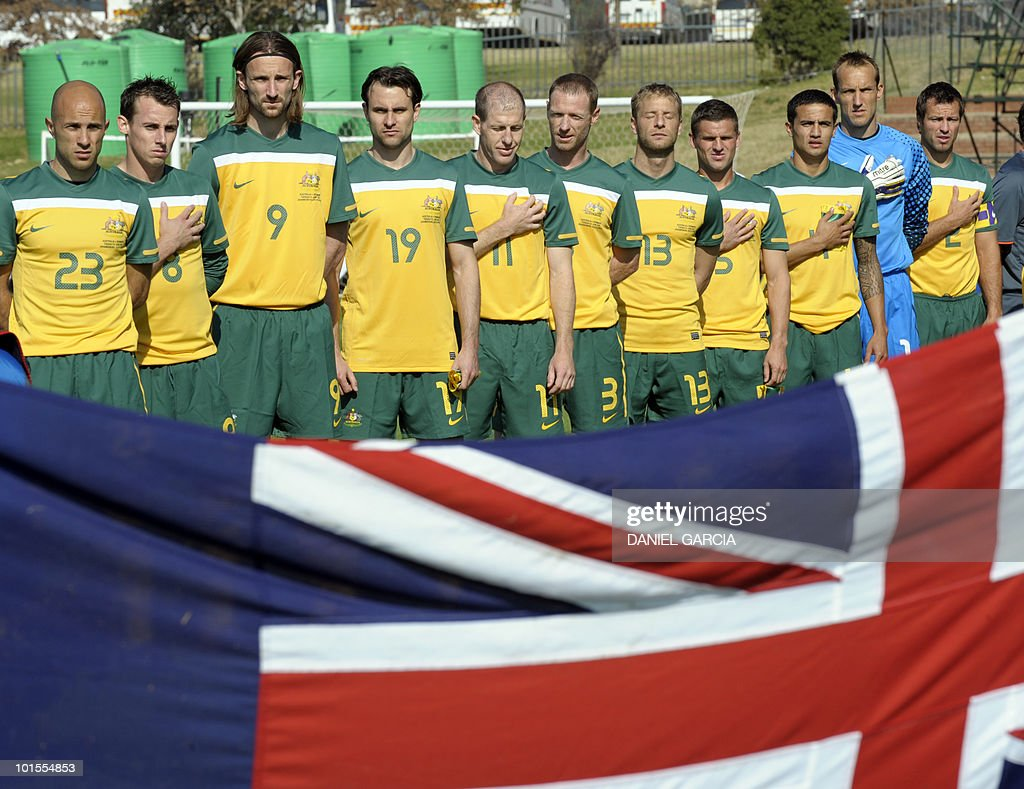 The Australian football team stands during the anthem ahead of a friendly game against Denmark at Ruimsing Stadium in Roodepoort on June 1, 2010. The FIFA 2010 World Cup will start on June 11, 2010.