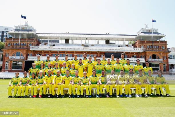 The Australian Indigenous Men's and Women's cricket team pose for a photo with the Australian ODI team on June 6 2018 at Lords United Kingdom This...