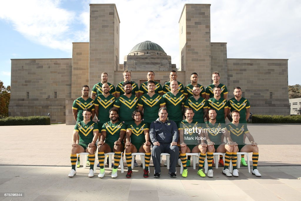 The Australian Kangaroos Test team pose for their team photo during an Australian Kangaroos media opportunity at the Australian War Memorial on May 1, 2017 in Canberra, Australia.