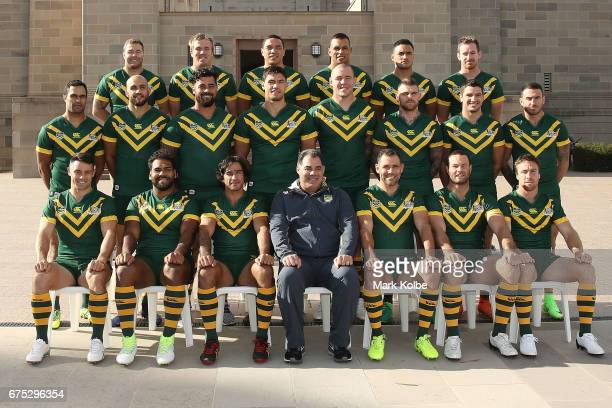The Australian Kangaroos Test team pose for their team photo during an Australian Kangaroos media opportunity at the Australian War Memorial on May 1...