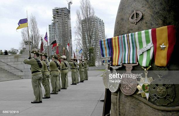 The Australian light horse brigade is remembered during a service commemorating the charge at the Nek 7 August 2005 THE AGE Picture by JAMES...