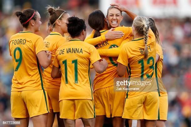 The Australian Matildas celebrate Samantha Kerr's goal during the women's international match between the Australian Matildas and Brazil at Pepper...
