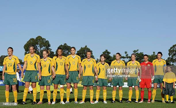 The Australian Matildas line up prior to the Olympic Qualification match between Australia and North Korea at BCU International Stadium on June 10...
