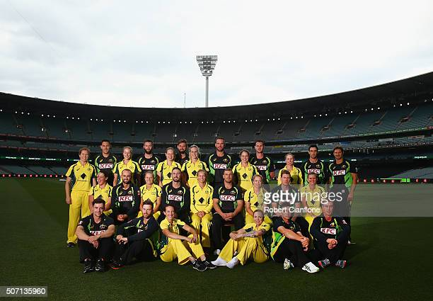 The Australian Men's and Women's T20 team pose at Melbourne Cricket Ground on January 28 2016 in Melbourne Australia