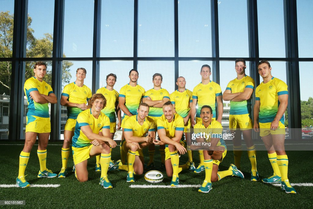 The Australian Men's Sevens team poses during the Australian Rugby Sevens Commonwealth Games Teams Announcement at the Rugby Australia building on March 15, 2018 in Sydney, Australia.