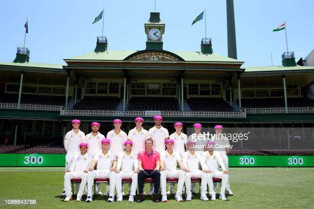 The Australian Mens Test Cricket team and Glenn McGrath pose for a photograph wearing the 'Baggy Pink' in support of the McGrath Foundation during...