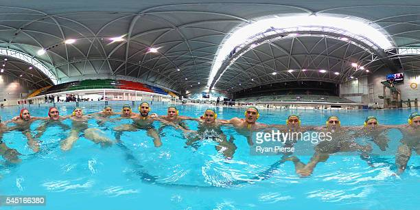 The Australian Men's Water Polo Team pose during an Australian Olympic Games water polo team portrait session at Sydney Olympic Park Aquatic Centre...
