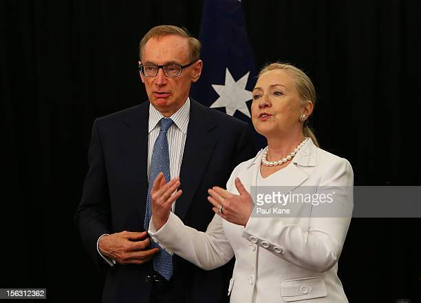 The Australian Minister for Foreign Affairs Bob Carr and US Secretary of State Hillary Clinton talk during the annual AustraliaUnited States...